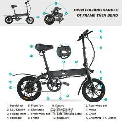 14 Folding Electric Bicycle City Bike Commuter E-Bike 250W Motor Cycling EBike