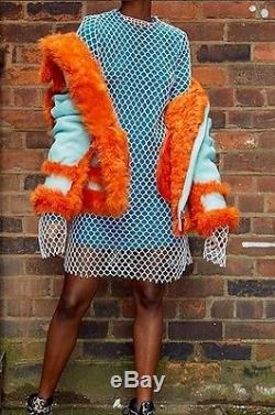 $3095 Marques'Almeida Coated Lt. Turquoise Leather Orange Shearling Fur Coat S