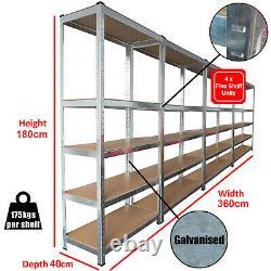 4 Racking Bays 5 Tier Boltless Garage Shelving Unit Storage Rack Heavy Duty