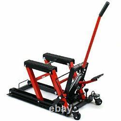 680Kg Motorcycle Bike Lift ATV QUAD Jack 1500LB Low Profile with Secure Straps