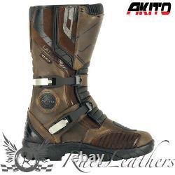 Akito Latitude Waterproof Brown Adventure Bike Motorcycle Motorbike Boots Sale