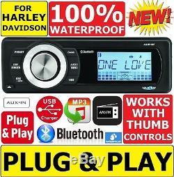 Aquatic Av A/v For 1998-2013 Harley Waterproof Bluetooth Mp3 Aux Radio Stereo