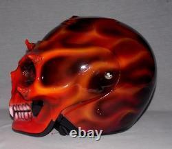 Custom Motorcycle Jet Helmet Skull Skeleton Death Ghost Rider Visor DOT approved
