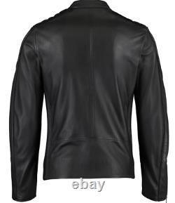 DIESEL Men's L-QUAD Sheepskin Leather Biker Jacket, Black, sizes M L