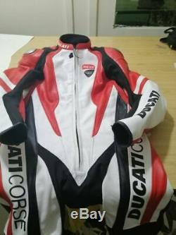 DUCATI Corse Motorcycle Red Motorbike Racing One Two Piece Leather SUIT Armour