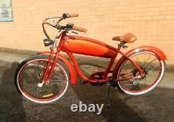 E-BIKE modelled on early Harley Davidson motor bike 7 speed manual gears NEW