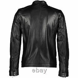 Genuine DIESEL Men's LADDERY Black Leather Sheepskin Jacket, sizes S M L XL