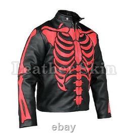 Men Black Skeleton Biker Motorcycle Racing Genuine Leather Jacket Red Skeleton