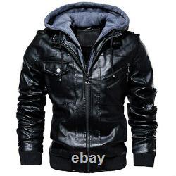 Men Casual Hooded Coats Men Thick Warm Motorcycle Biker Leather Jacket
