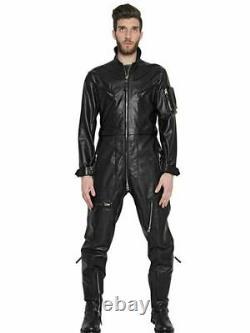 Men Genuine Soft Leather Catsuit Full Zipper Overall Bodysuit Jumpsuit Black
