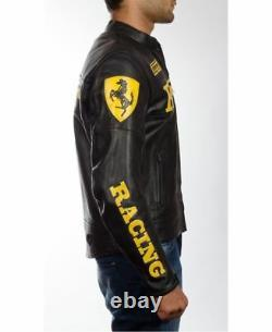 Men's Ferrari Red and Black Biker Cow Hide Real leather Jacket with Safety Pads