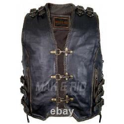 Men's Genuine Cow Leather Heavy Zipper Rocker Biker Waistcoat Motorcycle Vest S8