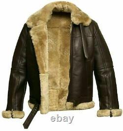 Mens Aviator B3 Ginger Real Shearling Sheepskin Bomber Flying Jacket Xxs-4xl