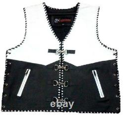 Motorcycle Leather Vest Buckle Riding Waistcoat Braided Clip Leather Bike Vest