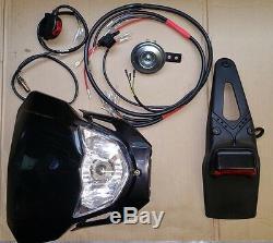 Motorcycle Lighting Kit Road Legal (UK MOT) Enduro Custom Bike Loom and Lights