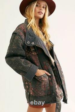 New Free People Jenny Quilted Moto Jacket Coat, Charcoal, Medium, RRP $228