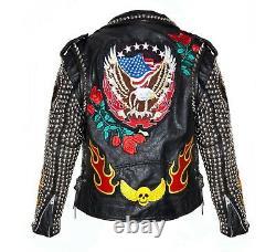 New Men's Black Punk Top Quality Silver Studded Cowhide Biker Leather Jacket