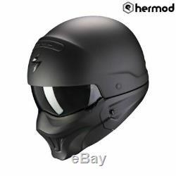 Scorpion EXO Combat EVO Streetfighter Open Face Motorcycle Helmet Matt Black