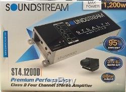 Soundstream ST4.1200D 1200 Watt Compact 4-Channel Motorcycle Car Audio Amplifier