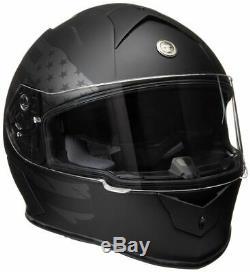 Torc T14 Bluetooth Full Face Dual Visor Motorcycle Helmet Flat Black Flag