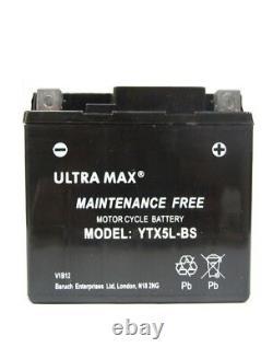 Ultramax Ttx5l-bs 12v 4ah 55 Cca For Motorcycle, Motorbike, Quad Bike, Jet Ski