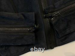 Womens Gucci Tom Ford Era Suede Leather Jacket Biker Motorcycle Blue Sz S