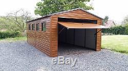 Wood Effect Garage 12x20ft for Car, Motorcycle, Garden Shed Equipment Workshop