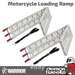 2 X Warrior Folding Aluminium Motorcycle / Vélo / Moto / Rampes De Chargement MX