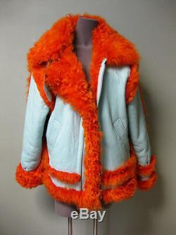 3095 $ Marques'almeida Couché Lt. Turquoise Cuir Orange En Peau De Mouton Manteau De Fourrure S