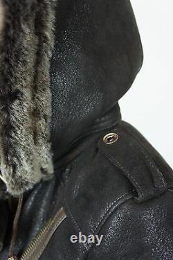 Brown 100% Shearling Leather Sheepskin Pilot Bomber Aviator Jacket Coat Xs 6xl