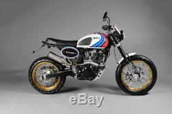 Bullit Hero Motorcycle Tracker Learner Legal Café Racer Bike 125cc Blanc Bianco
