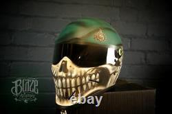 Casque De Moto Peint À La Main / Aérographe Sur Mesure Dans La Conception Royal De Crâne Marin