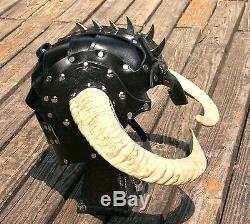 Cornu Demi De Cuir Casque Armure Fantaisie Moto Norse Helm Cosplay Médiéval