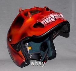 Custom Motorcycle Jet Helmet Skull Skeleton Death Ghost Rider Visor Dot Approuvé