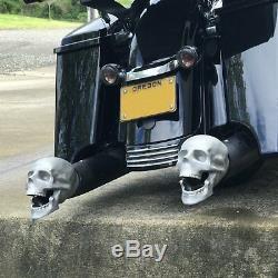 Ensemble De 2 Crâne D'échappement Muffer Conseils Adapter Hot Rods Harley Tiges Rue Moto V8