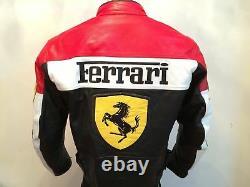 Ferrari Rouge Et Noir Biker Vache Hommes Cacher Cuir Véritable Veste Avec Coussinets De Sécurité