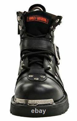 Harley-davidson Chaussures Homme Boucle De Frein Bottes De Moto En Cuir Noir D91684