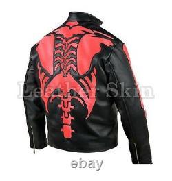 Homme Black Skeleton Biker Moto Racing Veste Véritable En Cuir Skeleton Rouge