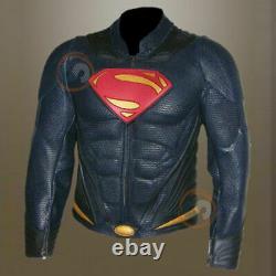 Man Of Steel Henry Cavill Superman Réel Perforé Veste En Cuir