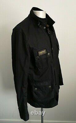 Mens Barbour International Black Waxed Motorcycle Bikers Jacket Taille Grande