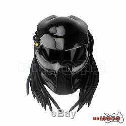 Nouveau Noir Predator Casque Masque De Moto En Fibre De Carbone Iron Man Casque Intégral
