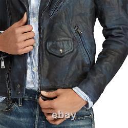 Polo Ralph Lauren Homme Bleu Indigo Camo Italie Cuir Vintage Biker Moto Jacket