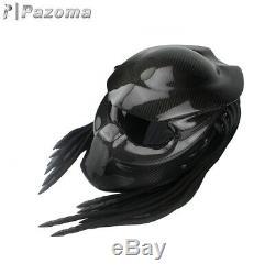 Predator Noir En Fibre De Carbone Casque De Moto Full Face Fer Guerrier Homme Casques