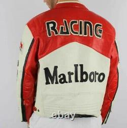Rouge Et Blanc Homme Rare Marlboro Formula Racing Mcqueen Leather Jacket Biker