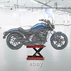Support Moto Ciseaux Jack Réglable Lifting Repair Paddock Kickstand Rouge