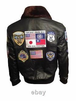 Tom Cruise Top Gun A2 Jet Fighter Bomber Veste En Cuir Réel Real Fur Brown Nouveau