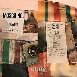 Vintage 90s Moschino Pants Trousers Art History Print Size 33 Made In Italy